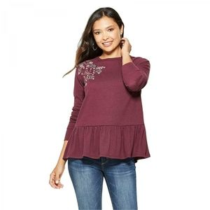 NWT Knox Rose Embroidery Peplum Top Small Burgundy